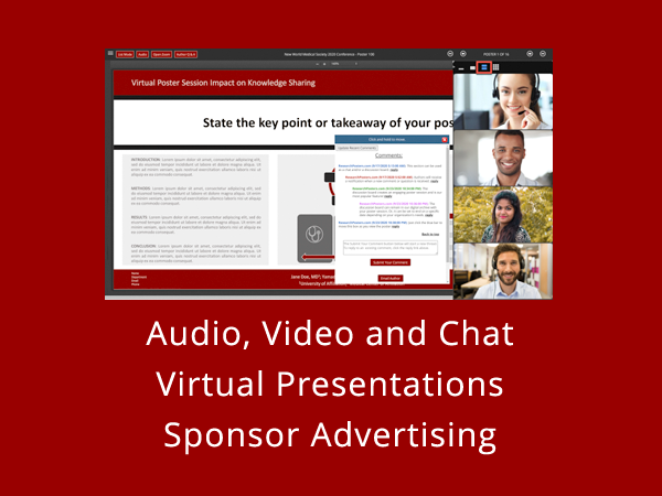 VIRTUAL ePOSTER SESSIONS - Audio, Video and Chat - Virtual Presentations - Sponser Advertising